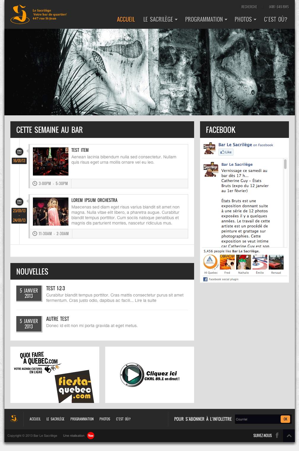 Site Web du Sacrilège - Page d'accueil