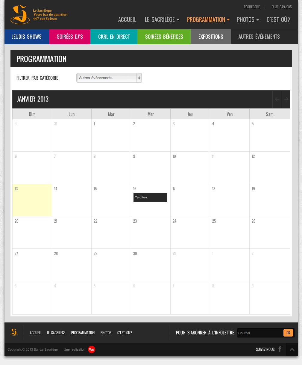 Site web du Sacrilège - Calendrier des événements