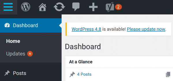 WordPress must be updated
